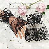 LPOQW Guantes de encaje para mujer, de malla negra, diseño de mariposa, sin dedos, con cordones, para decoración de boda, con diamantes de imitación, color negro