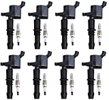 ENA Set of 8 Platinum Spark Plugs and 8 Ignition Coils compatible with 2005-2008 Ford F150 F-150 Expedition F-250 Super Duty F-350 Super Duty 5.4L V8 FD508 SP515