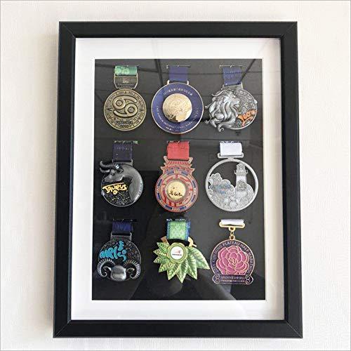 ZHXY Medaillenrahmen Orden Ehrenzeichen Medaillenhalter,Medaillenhalter für mehr als 30 Medaillen Medaillenkasten,Medaille Display Rahmen,Medaillendisplay,Fotorahmen,bilderrahmen 3 Holz mit Glas