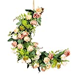 WDDH Artificial Rose Flower Wreath, Half Moon Shape Decoration Wreath with Mixed Rose and Succulents, Floral Door Wreath Hanging Garland for Wedding Backdrop Wall Decor
