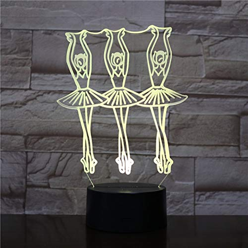 Ballet Dance Waltz Girls Night Light Luces de Repuesto Luces de Halloween Ilusión acrílica Lámparas de Mesa para niños Regalos directos