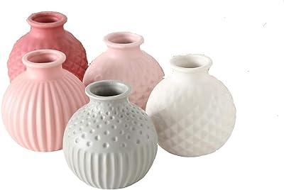 CasaJame Juego de 5 jarrones decorativos con estructura de gres, 11 cm de altura, color blanco, rosa y gris claro
