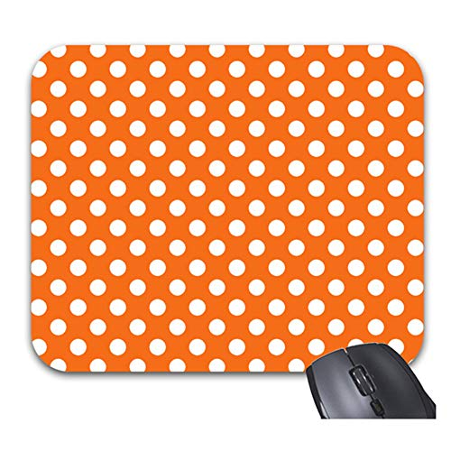 """Smity 106 Orange and White Polka Dot Mouse Pads Trendy Office Desktop Accessory Large Size 11.8 x 9.8"""""""