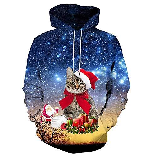yyqx container 3D Sweatshirt Hoodie Wit Hoogtepunt Rood Kerstmuts Cat 3D Printing Hoodies Unisex Lange mouwen Ademende Sweatshirts Verstelbare Trekkoord met Kangoeroe Pocket