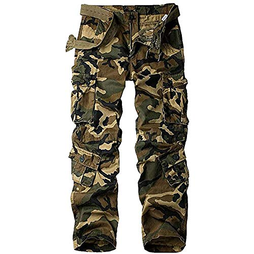 Raroauf Womens Cotton Work Cargo Pants 8 Pockets Baggy Casual Combat Tactical Trousers Camo N US 10