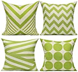 All Smiles Outdoor Green Decorative Throw Pillow Covers Cases Cushion Home Decor Accent Square 16 x 16 Set of 4 for Patio Couch Sofa,Lime Green Geometric