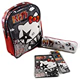 (Rot) Hello Kitty 'KISS' Rucksack, Federmäppchen, Buntstifte und Malblock im Komplettset. Kindergarten Tasche Sanrio Kindergartentasche …