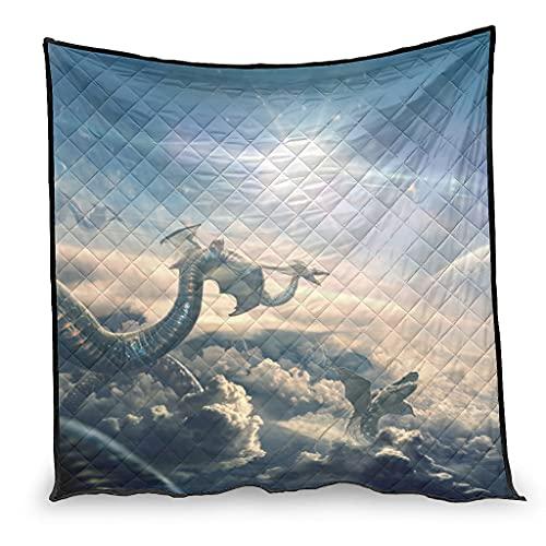Dessionop Diseño de dragón de fantasía, moscas por las nubes, impresión del aire acondicionado, regalo, sofá blanco, 100 x 150 cm