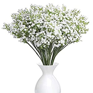Syhonic 12Pcs Artificial Silk Baby Breath Gypsophila Flower Wedding Party Decoration Real Touch Flowers DIY Home Garden(White)