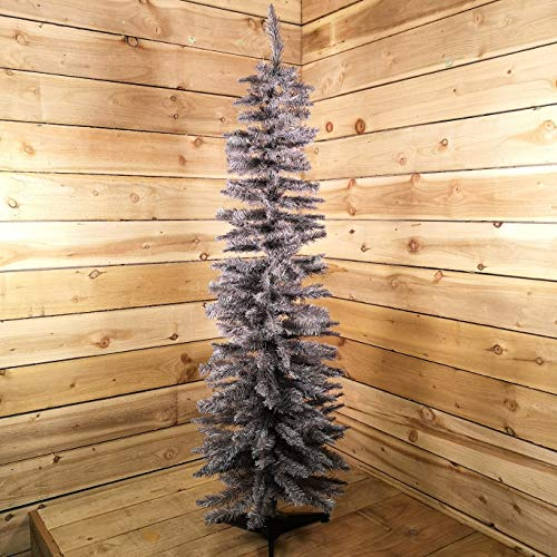 E-Stores Direct 5ft 6ft 7ft 8ft Grey Pine Pencil Slim Artificial Christmas Tree (5ft/150cm)
