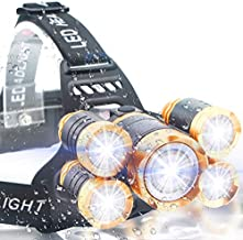 Soft Digits Headlamp, 5LED Headlight, USB Rechargeable Head Lamp Flashlight, 4 Modes Waterproof Zoomable Light 18650 Battery for Outdoors, Household