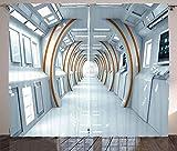 Waple rideau occultant œillet pour le salon Rideaux fantaisie, couloir futuriste de l'architecture de vaisseau spatial, style science-fiction 170*200cm Rideau Occultant 3D Rideau Isolant Thermique Éco