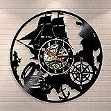 WERWN Vintage velero Ancla telescopio Reloj de Pared Deportes náuticos Volante decoración de Vinilo salón Regalo