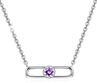 Necklace Women's Clavicle Chain Necklace 925 Sterling Silver Amethyst Pendant Necklace With 18 Inch Silver Chain Women's P...