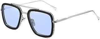 Spider Man Edith Glasses,Vintage Aviator Square Metal Frame for Women Sunglasses Classic Downey Iron Man Tony Stark Shades