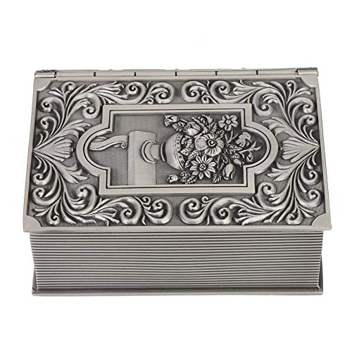 Rectángulo Vintage Metal Joyero Metal Retro Libro falso Caja de almacenamiento de joyas Collar Organizador Caja de joyería Cajas de regalo Organizador