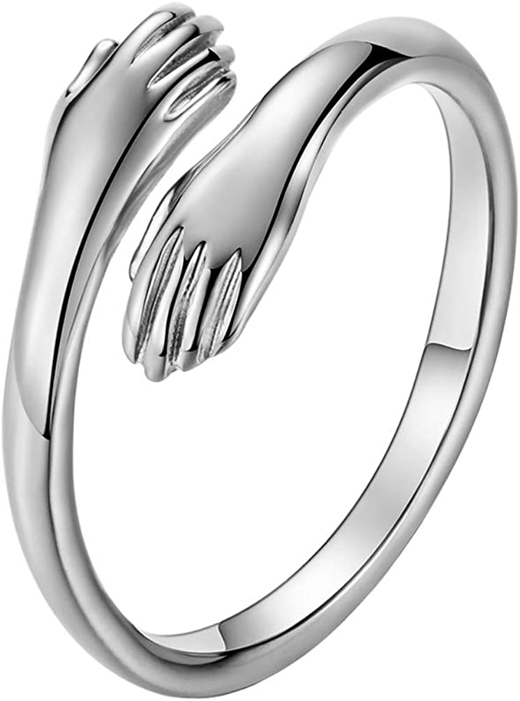 INRENG Unisex Stainless Steel Hands Embrace Open Couples Wedding Ring Romantic Love Hug Jewelry