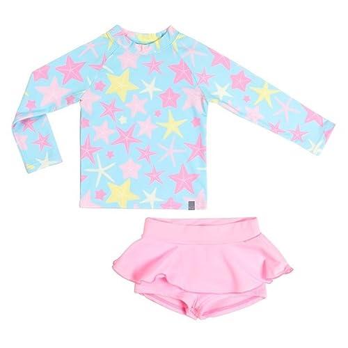 d034f97f35 OwlFay 2-9 Years Girls Two Pieces Swimwear UV Sun Protection Long Sleeve  Tops Shirt