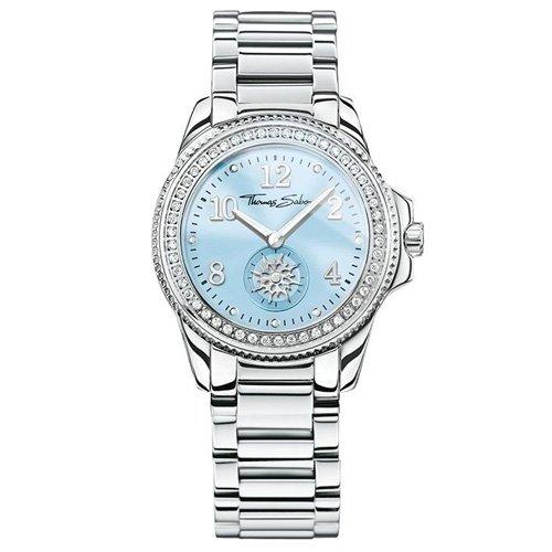 Thomas Sabo Damen-Armbanduhr GLAM CHIC Light Blue Analog Quarz Edelstahl WA0254-201-209-33 mm