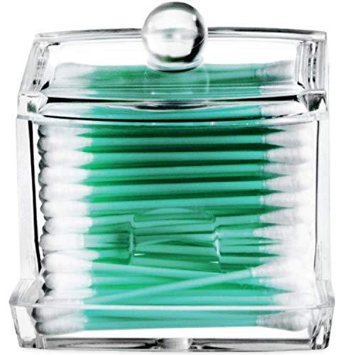 Acrylicase Acrylique Transparent Boîte étui de rangement, organiseur pour tampons de coton, coussinets Q-tips, maquillage, cosmétiques, et plus encore – pour salle de bain & Vanity