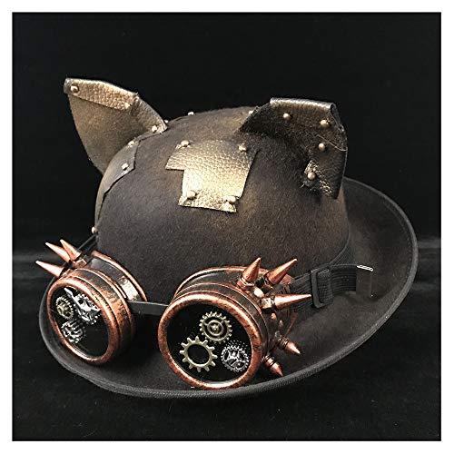 M.D.Y. Gorra Retro Lolita Mujer Hombre Unisex Steampunk Bowler Hat Gafas Topper Top Cosplay Sombreros Sombrero (Color : Black JD, tamaño : 57-58cm)