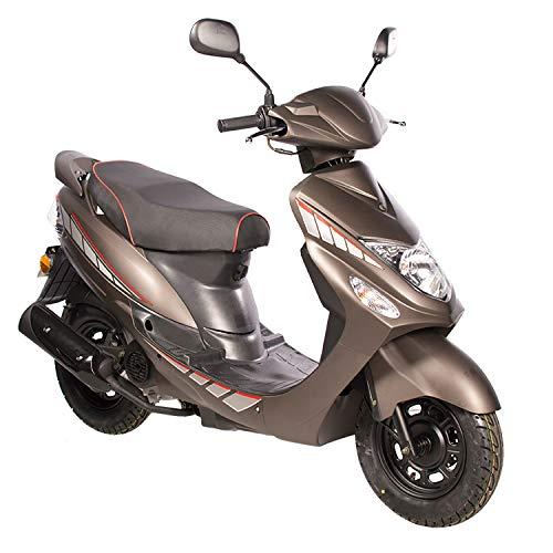 GMX 460 Sport Scooter 45 km/h mat bruin - zuinig 4-takt 50ccm mokick met Euro 4-emissienorm