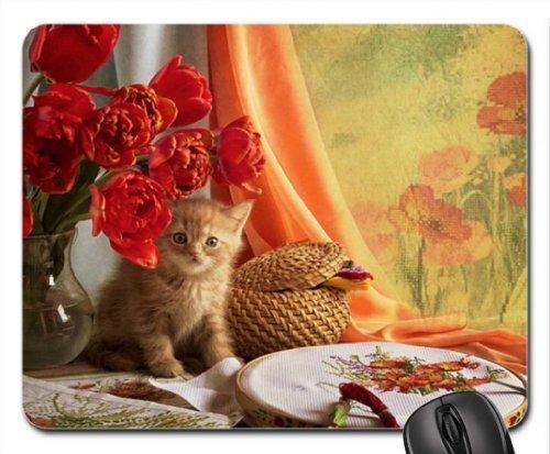schattig gember kitty onder de tulpen vaas muismat, muismat (katten muismat)