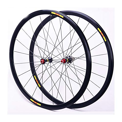 CHICTI Front & Rear Bicycle Wheel 700C Alloy Clincher Road Bike Wheelset Ultra Light Rim V Brake Support To Used For 8/9/10/11 Speed Freewheel QR