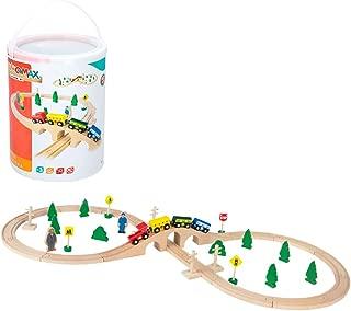 WOOMAX-Tren de madera pasajeros y vías 40 piezas, (Color Baby 43634)