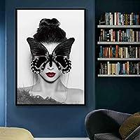 """リビングルームのための女の子の顔のファッションキャンバスアートの北欧のモダンな黒い蝶ユニークなギフト抽象的なかわいいポスター23.6"""" x31.4""""(60x80cm)フレームレス"""