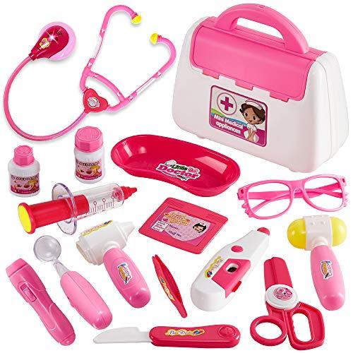 Buyger 16 Pezzi Valigetta Dottore Bambini Giocattolo Gioco Dottore luci Bambina 3 Anni (Rosa)