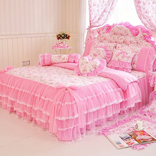 MeMoreCool Home Textile Elegant Design Pastoral Style Floral Lace Princess Bedding Set Girly Ruffle Duvet Cover Fashion Exquisite Falbala Bed Skirt Twin Size 3Pcs