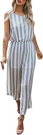 ZOUMOOL Frauen Striped Print Short Sleeveless Jumpsuit Lässige Lässige Lässige Clubwear Breite Beinhosen ZOUMOOL B07F2KSKFJ | Exquisite (in) Verarbeitung  662cc5