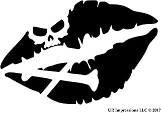 UR Impressions Blk Skull Crossbones Kiss of Death Lips Decal Vinyl Sticker Graphics for Cars Trucks SUV Vans Walls Windows Laptop|Black|5.5 X 4 Inch|URI340-B