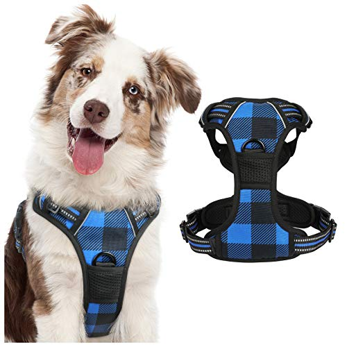 rabbitgoo Dog Harness No Pull, Adjustable Dog Walking Chest Harness with 2 Leash Clips, Comfort Padded Dog Vest Harness with Easy Handle, Reflective Front Body Harness for Large Breeds, Blue Plaid, L