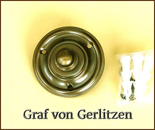 Graf von Gerlitzen Antik Messing Tür Klingel 1 Türklingel Klingelschild Klingelplatte Rund K-N6-NewA