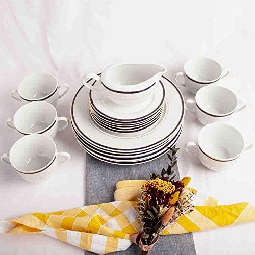 Franquihogar - Vajilla completa blanca con filo de oro y azul cobalto para 6 personas - Set de 19 piezas   platos llanos + 6 tazones de consomé + 6 platos postre + salsera   Sonata