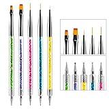 TOEDO 5pcs Nail Brushes for Nail Art, Double Ended Nail Liner Brush Dotting Pens for DIY Nail Art Design Home Salon