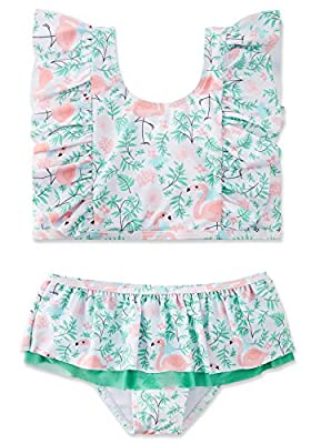 swimsobo Toddler Girls Swimsuits Hawaiian Bathing Suits Two Piece Flutter Sleeve Bikini Sets Never Fade Flamingo Printed Swimwear for Summer Holiday Swimming Lesson 7 8 Years Green