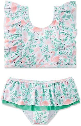 swimsobo Kids Swimsuits for Girls 2 Piece Flutter Sleeve Bathing Suits Hawaiian Flamingo Printed product image