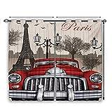 Nooweihome - Cortina con estampado 3D, diseño retro de ciudad parisina europea con mousque y silueta Eiffel, absorben el ruido de 55 x 39 rojo, crema y gris