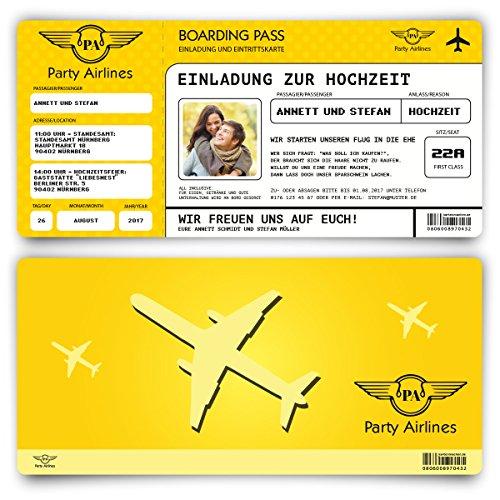 Einladungskarten zur Hochzeit (20 Stück) Flugticket mit Foto Einladung in Gelb