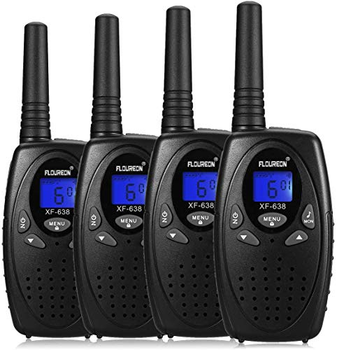 FLOUREON Ricetrasmittente Walkie Talkies 4X PMR Radio Ricetrasmittenti 8 Canali Walkie Talkies per Bambini o Adulto 2 Way Radio Nero