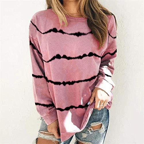 QSDM Camisetas y Blusas para Mujer Sudaderas de Mujer Tops Suéter de Camiseta de Manga Larga con Estampado de Rayas Tie-Dye para Mujer-Vino Tinto_SG
