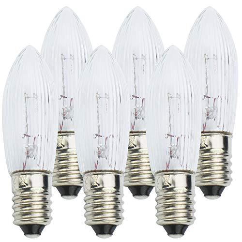 com-four® 6X Ersatzbirne, Riffelkerze für Schwippbögen und Lichterketten mit 11 Lampen-Steckplätzen, 23V / 3W, mit E10 Schraubgewinde (06 Stück - 23V)