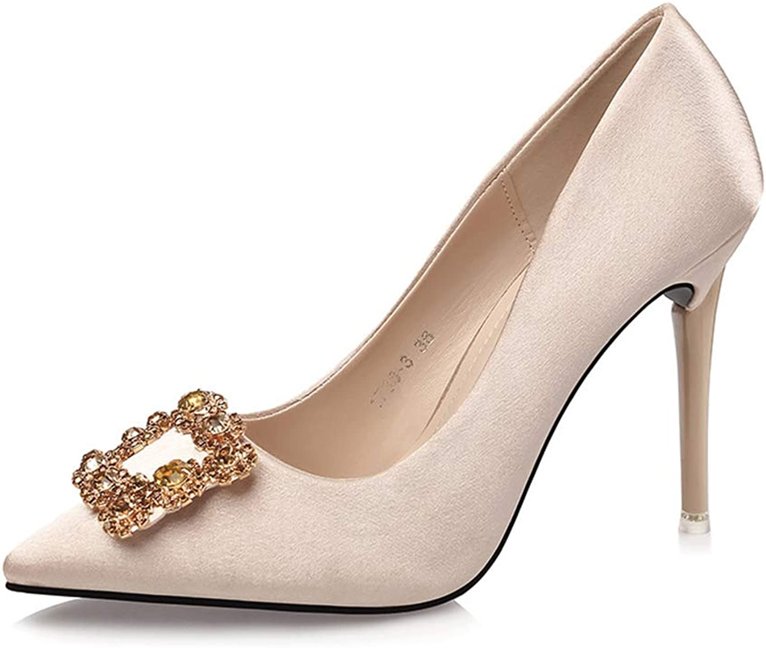 Smart.A Pointed Shallow Mouth Sexy Square Buckle Rhinestone high Heels