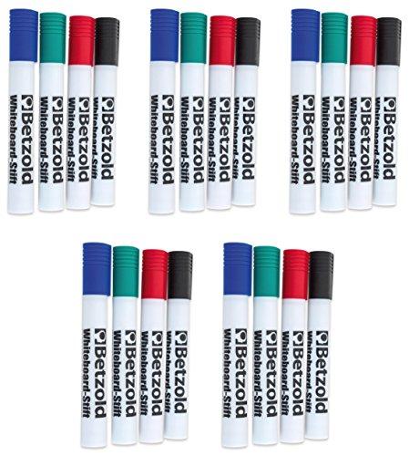 Betzold 756650 - Whiteboard-Marker Set 20 Marker-Stifte in 4 verschiedenen Farben - Rot Blau Schwarz Grün