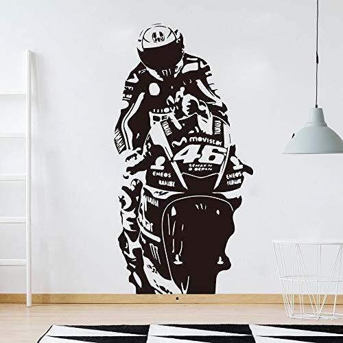 zzlfn3lv Valentino Rossi VR Der Arzt Autorennen Wandtattoo Jungenzimmer Kinderzimmer Motorrad Racing Sport Wandaufkleber Wohnzimmer 75 * 37 cm