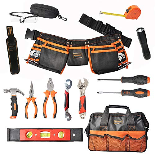 R RECOMFIT 15 Pieces Kids Real Tool kit Children Real Tool Set with Real Hand Tools, Kids Tool Belt, Pouch Bag ,Magnetic Wristband for Small Hands DIY Woodworking Projects Home Repair
