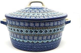 Polish Pottery Baker - Round Covered Casserole - Aztec Sky